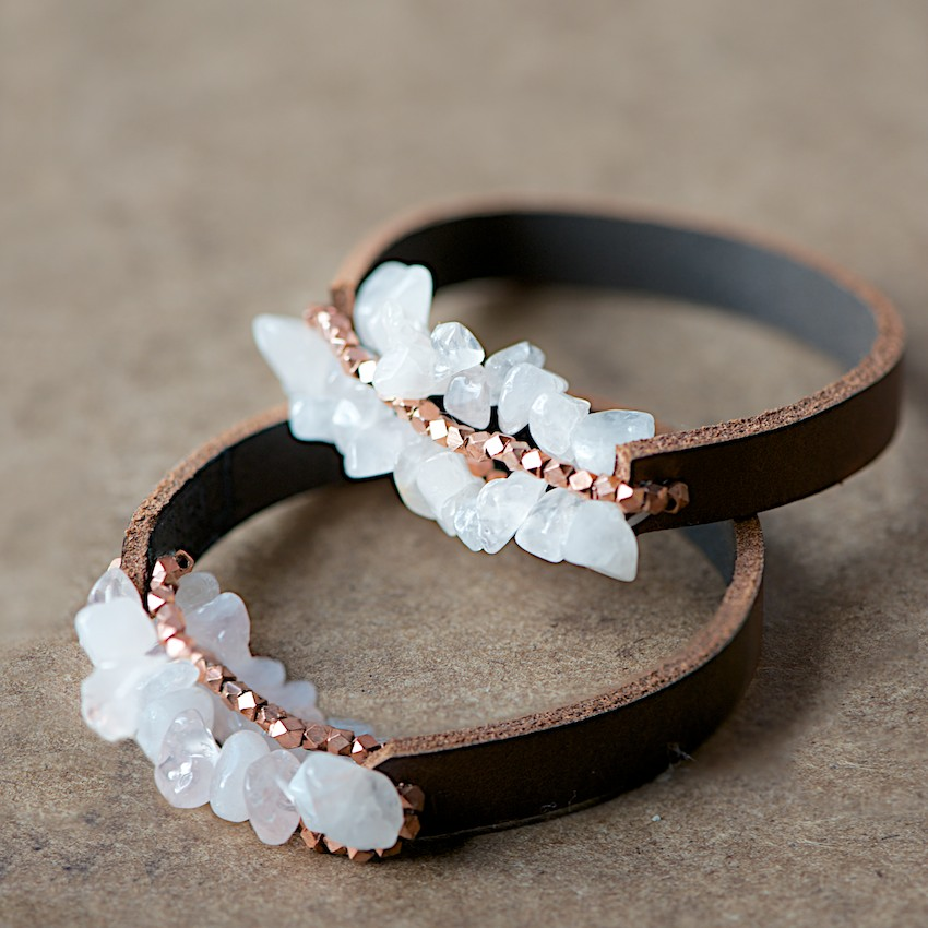 Easy Chunky Leather Bracelet Tutorial