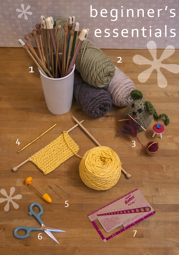 Visual guide of essentials for beginning knitters