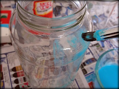 DIY Blue Glass Mason Jar
