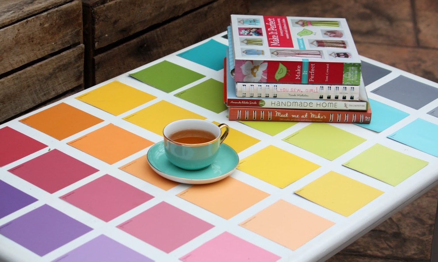 Paint Chip Sample Table Makeover