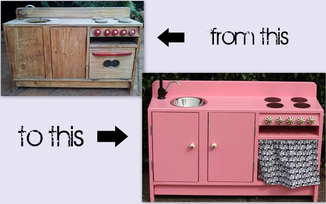 Wooden Play Kitchen Make Over