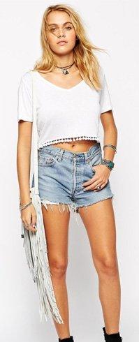 25. Pom-Pom Crop Top: -   DIY T-Shirt Cutting Designs