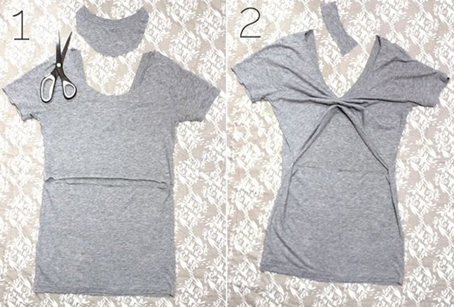 6. Bow-Back T-Shirts: -   DIY T-Shirt Cutting Designs