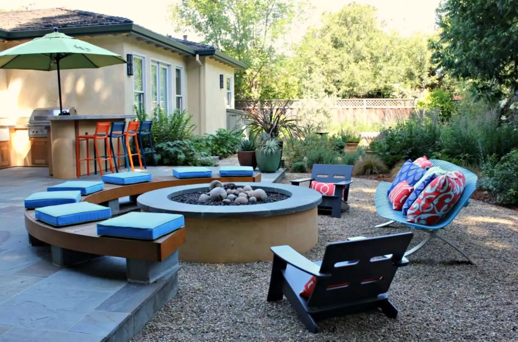 Empty Nesters' Fire Pit -   Beautiful Low Maintenance Front Yard Garden and Landscaping Ideas