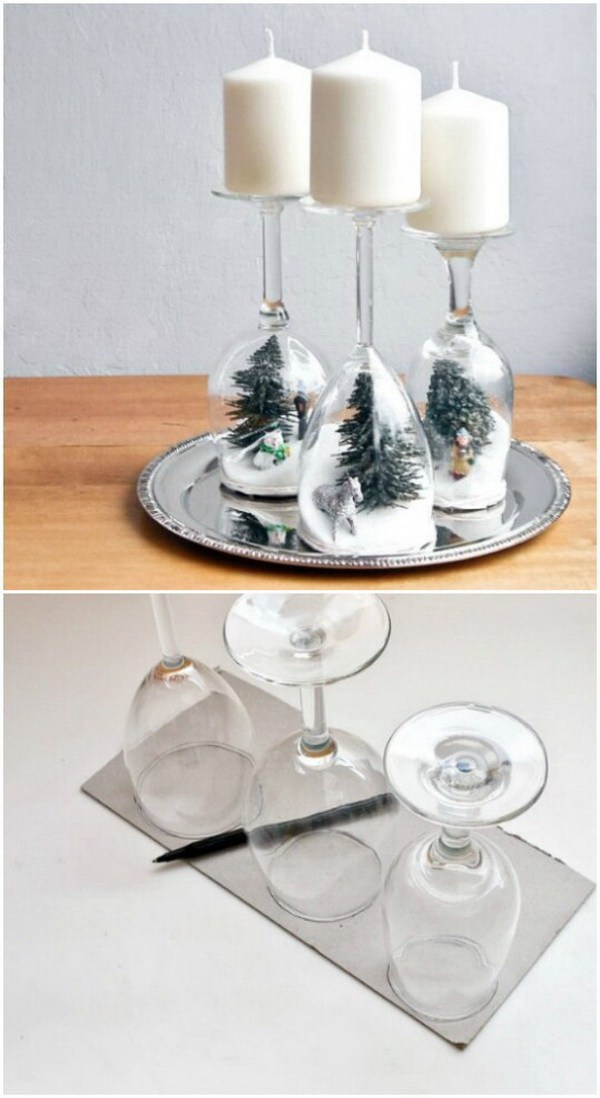 Wine Glass Holiday Dioramas -   DIY Dollar Store Christmas Decoration Ideas