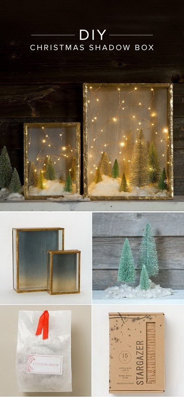 DIY Illuminated Forest Shadow Box -   DIY Dollar Store Christmas Decoration Ideas