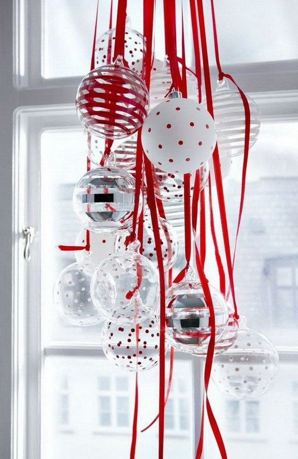 Hang Ornaments For Window Decorations -   DIY Dollar Store Christmas Decoration Ideas