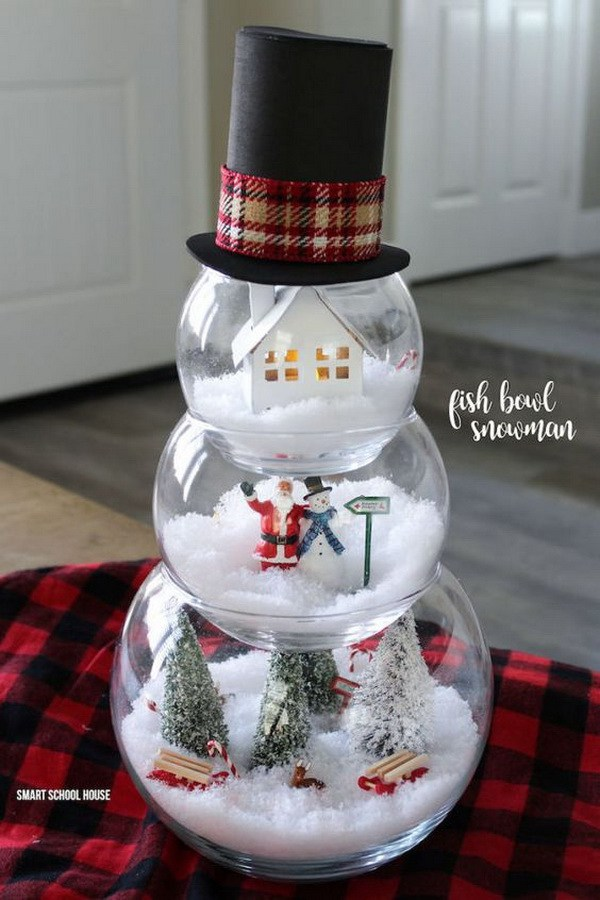 DIY Fishbowl Snowman -   DIY Dollar Store Christmas Decoration Ideas