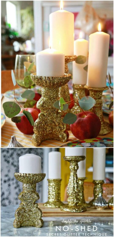 Glitter Candlesticks -   DIY Dollar Store Christmas Decoration Ideas