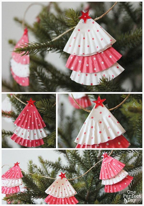 Cupcake Liner Garland -   DIY Dollar Store Christmas Decoration Ideas